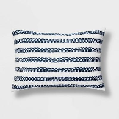 Lumbar Woven Stripe Pillow White/Blue - Threshold™