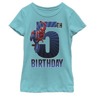Girl's Marvel Spider-Man Swinging 5th Birthday T-Shirt