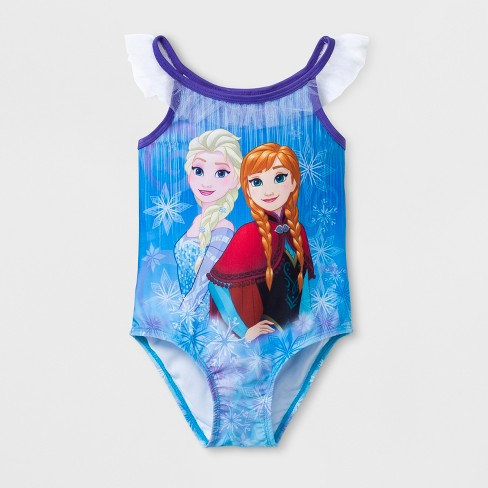 Toddler Girls' Disney Frozen One Piece Swimsuit - Blue - image 1 of 2