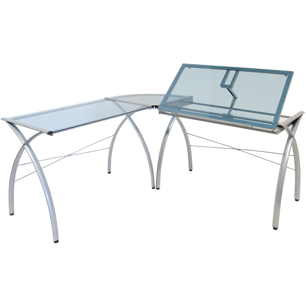 Futura L-Shaped Desk with Adjustable Top - Silver/Blue Glass