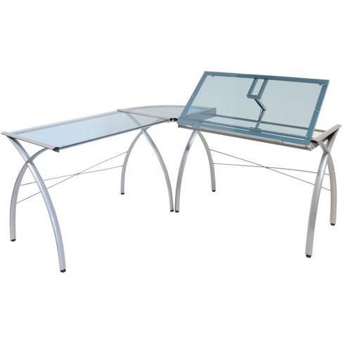 Futura L-Shaped Desk with Adjustable Top - Silver/Blue Glass - image 1 of 4