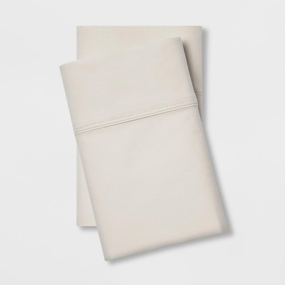 Standard 300 Thread Count Ultra Soft Pillowcase Set Beige - Threshold, Chalk