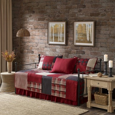 Sunset 5 Piece Day Bed Cover Set - Red