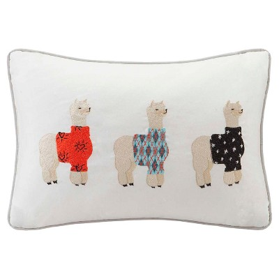 Gray Sweater Weather Alpaca Embroidered Cotton Oblong Throw Pillow - (14x20 )