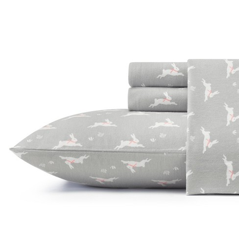 Laura Ashley Bunny Hop Flannel Sheet Set - Gray - image 1 of 3