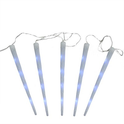 Northlight 5ct Dripping Frosted Icicle Snowfall Christmas Light Tubes Multi-Color - 12' Clear Wire