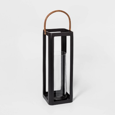 "23"" x 9"" Metal Lantern Pillar Candle Holder Black - Threshold™"