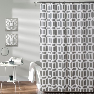 Sequoia Geo Shower Curtain Gray - Lush Décor