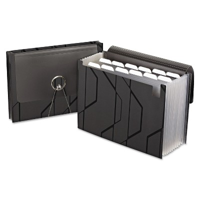 Pendaflex Sliding Cover Expanding File 13 Pockets 1/6 Tab Letter Black 02327