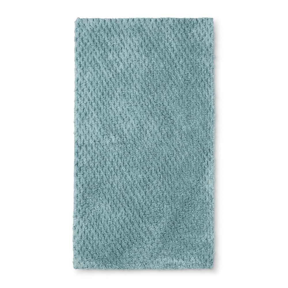"Image of ""34""""x20"""" Tufted Accent Bath Rug Silver/Blue - Fieldcrest"""