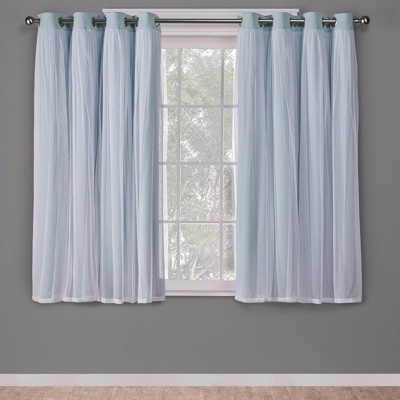 """96""""x52"""" Caterina Layered Solid Blackout with sheer top curtain panels Aqua - Exclusive Home"""
