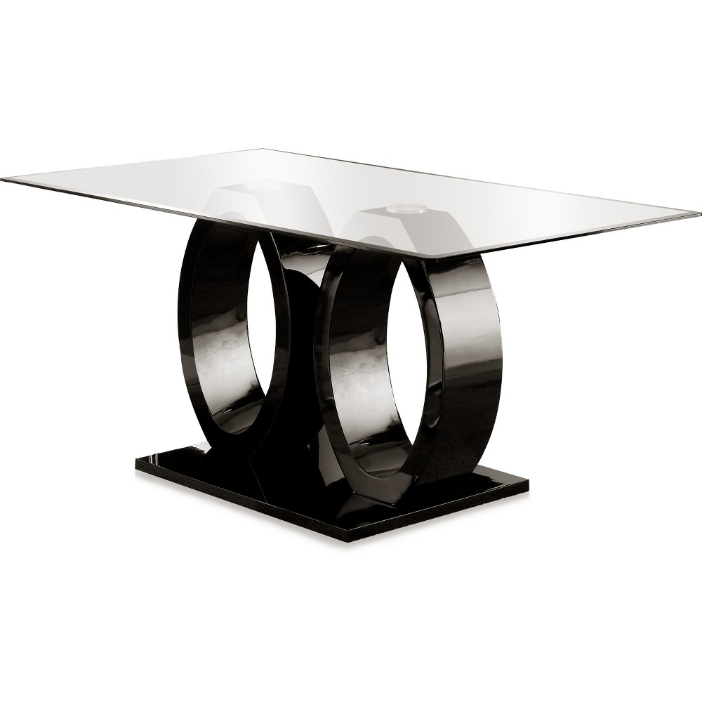 ioHomes Double Oval Pedestal dining Table Wood/Black