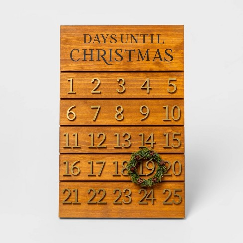 """17.9"""" x 11.8"""" Wooden Advent Calendar with Wreath Brown/Gold - Threshold™ - image 1 of 1"""