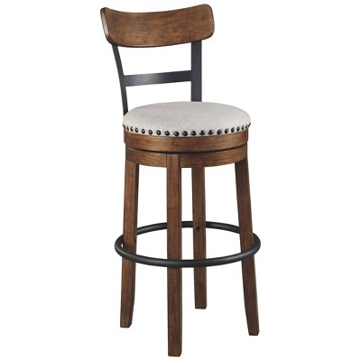 Tall Valebeck Upholstered Swivel Barstool Brown - Signature Design by Ashley