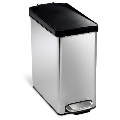 Simplehuman studio 10 Liter Profile Step Trash Can, Brushed Stainless Steel - Black Plastic Lid