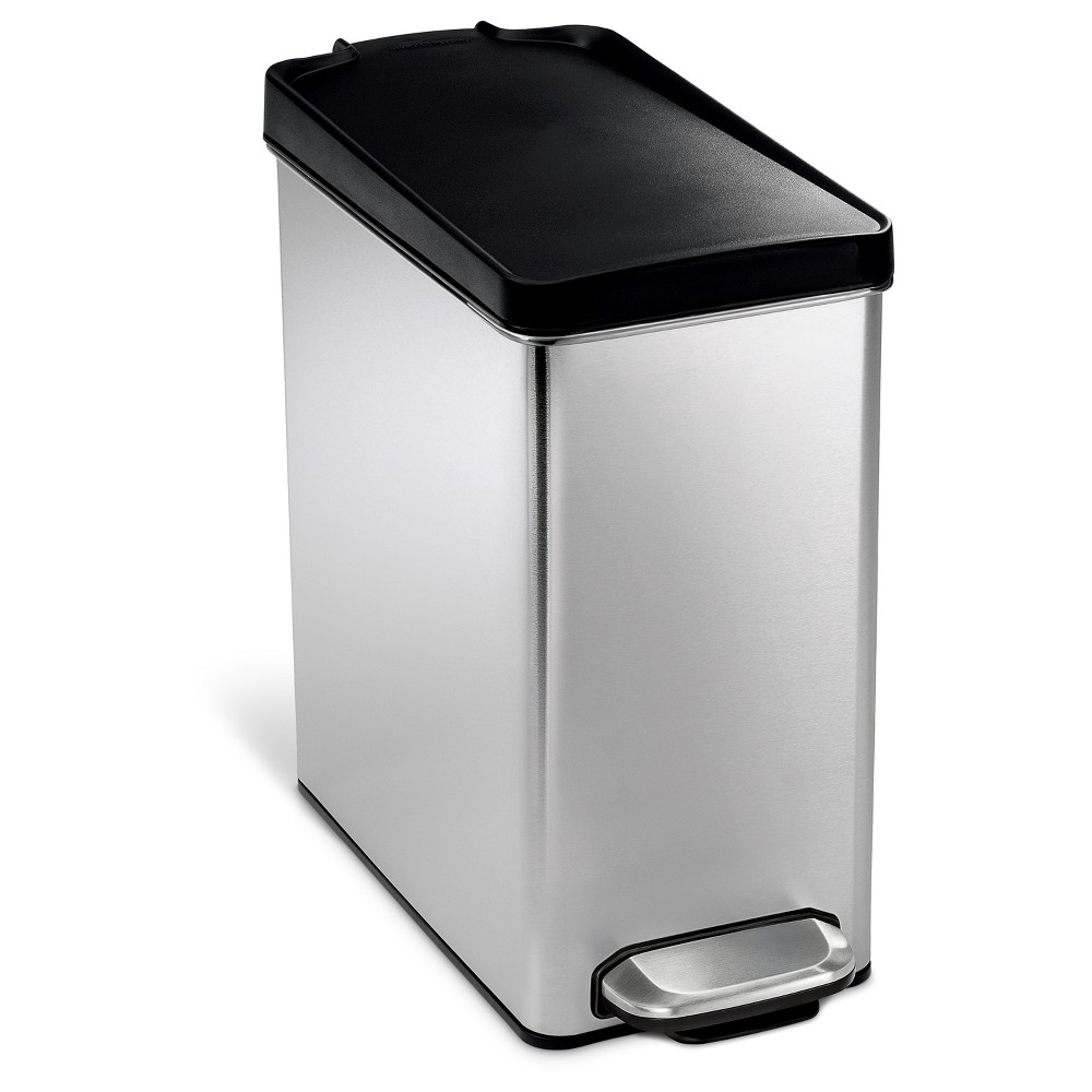 Image of simplehuman 10 Liter Step Trash Can - Brushed Stainless Steel with Black Plastic Lid