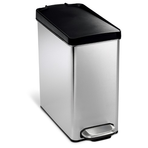 Simplehuman 10 Liter Step On Trash Can Brushed Stainless Steel With Black Plastic Lid