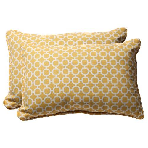 Outdoor 2 Pc Lumbar Toss Pillow Set - Yellow/White Geometric - Pillow Perfect
