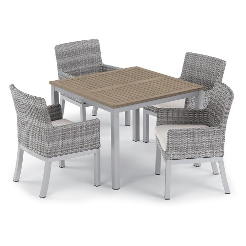 "5pc Travira 39"" Tekwood Vintage Dining Table & Argento Armchair Set - Oxford Garden - image 1 of 1"