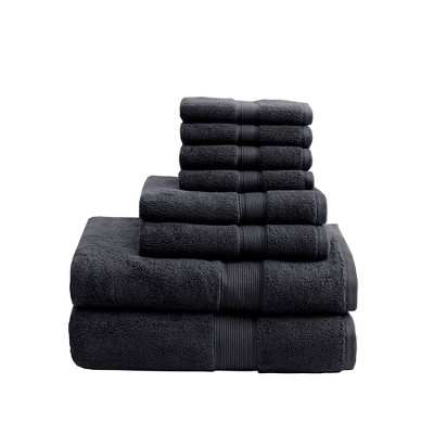 8pc Cotton Bath Towel Set Black