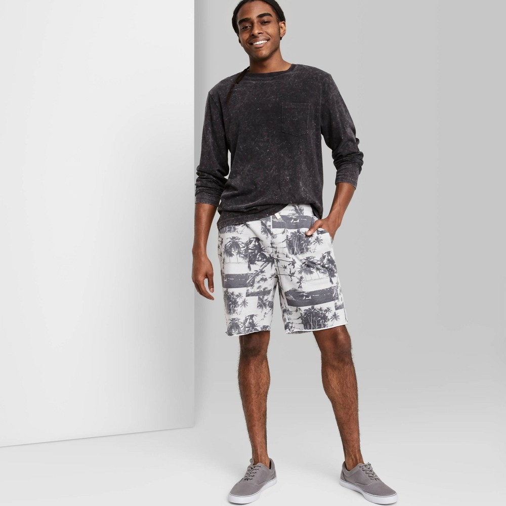 Men 39 S Regular Fit 8 5 34 Palm Print Knit Jogger Shorts Original Use 8482 Gray L