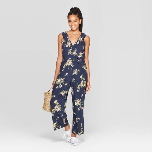 Women's Floral Print Sleeveless Deep V-Neck Ruffle Wrap Jumpsuit - Xhilaration™ Navy - image 1 of 2