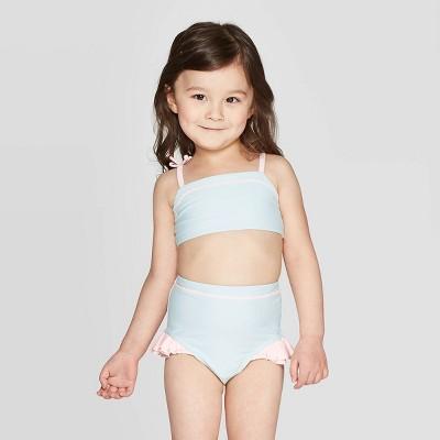 Mila & Emma Toddler Girls' 2pc Rickrack Ruffle Bikini Set - Blue/Pink 2T