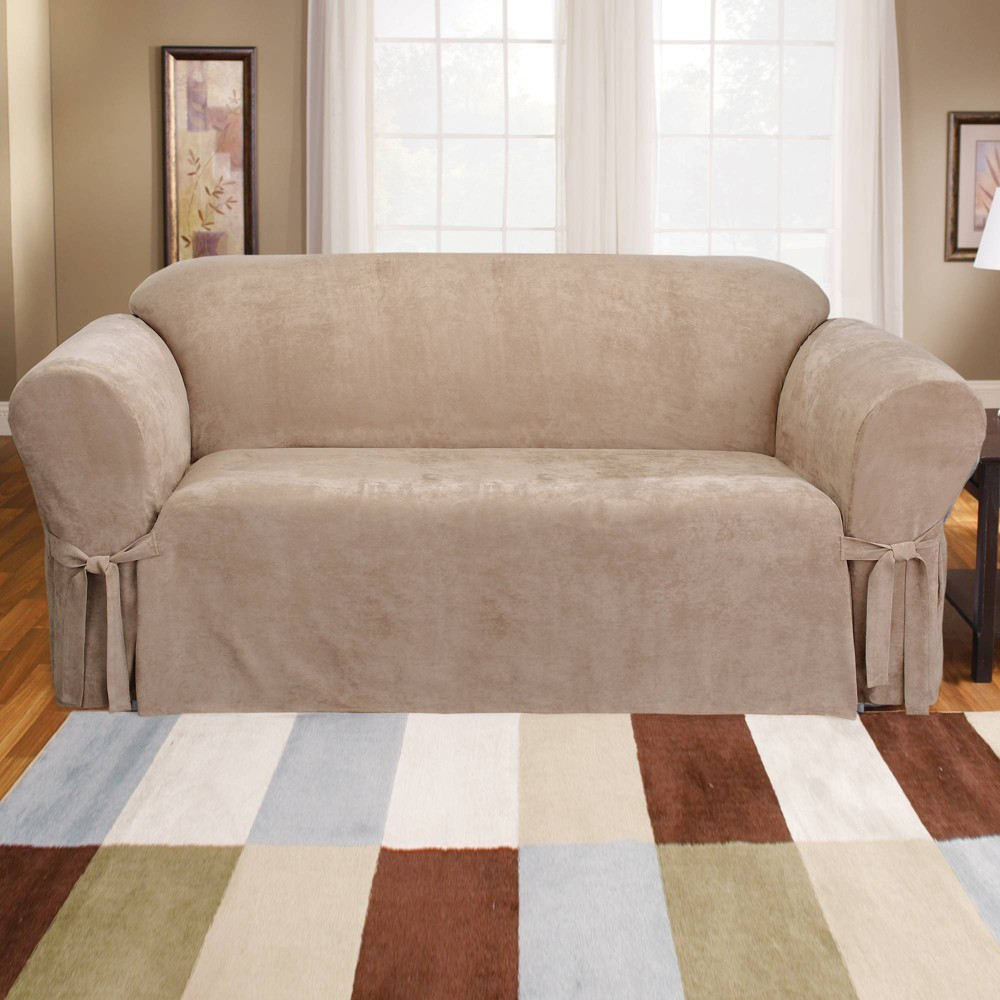 Soft Suede Sofa Slipcover Taupe Sure Fit