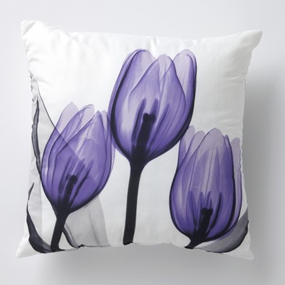 Lakeside Purple Tulip Accent Pillow - Furniture and Bedroom Floral Decor