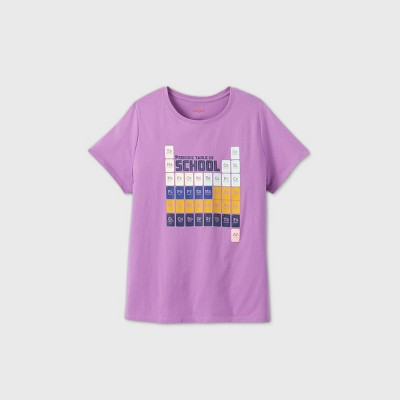 Womens' Plus Size Short Sleeve Periodic Table Graphic T-Shirt - Cat & Jack™ Purple