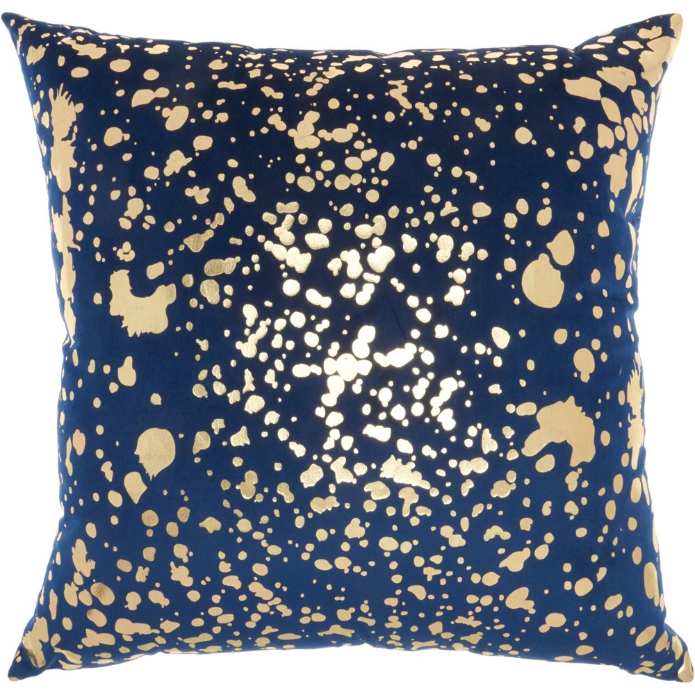 Image of Luminescence Metallic Splash Square Throw Pillow Navy - Nourison, Blue