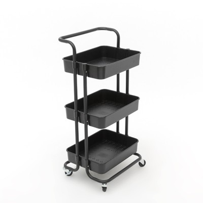 Pemberly Row 3 Tier Rolling Utility Cart with Storage in Black