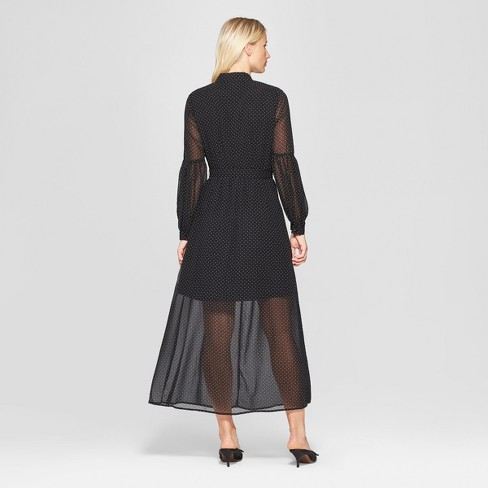 3860f1f33e9 Women s Polka Dot Long Sleeve Belted Maxi Dress - Who What Wear™ Black White  L   Target