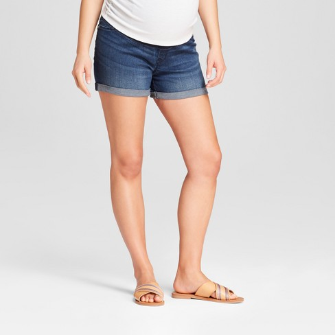 Maternity Crossover Panel Midi Jean Shorts - Isabel Maternity by Ingrid & Isabel™ Dark Wash - image 1 of 5