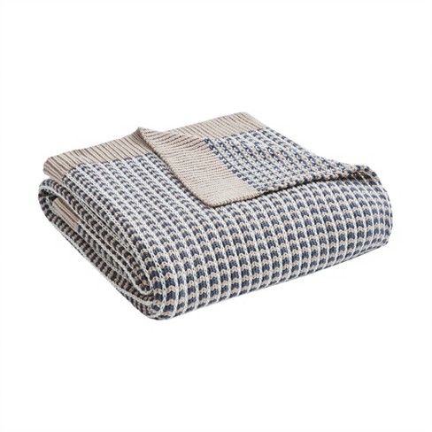 """50"""" x 60"""" Moss Cotton Knit Throw Gray - image 1 of 4"""