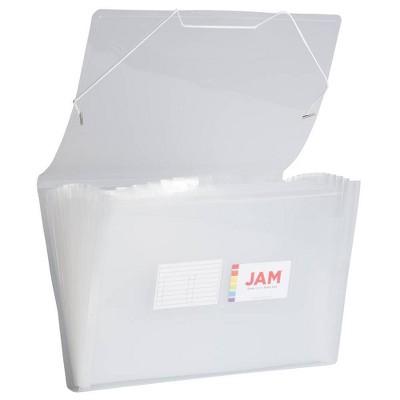 "JAM Paper 10"" x 15"" 13 Pocket Plastic Expanding File Folder - Legal Size - Clear"