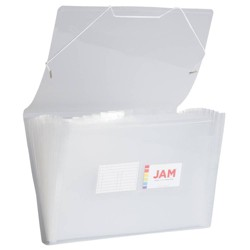 "JAM Paper 10"" x 15"" 13 Pocket Plastic Expanding File Folder - Legal Size - Clear"