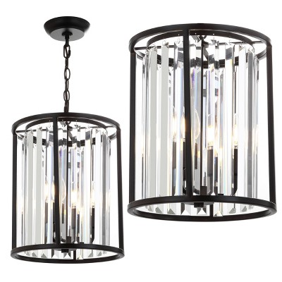 "12"" Metal/Crystal Bevin Pendant Black (Includes Energy Efficient Light Bulb)- JONATHAN Y"