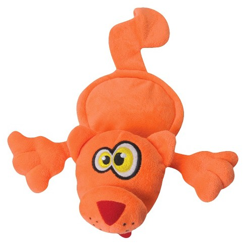 HEAR DOGGY! Flattie Cat Silent Squeak Plush Dog Toy - Orange - M - image 1 of 6