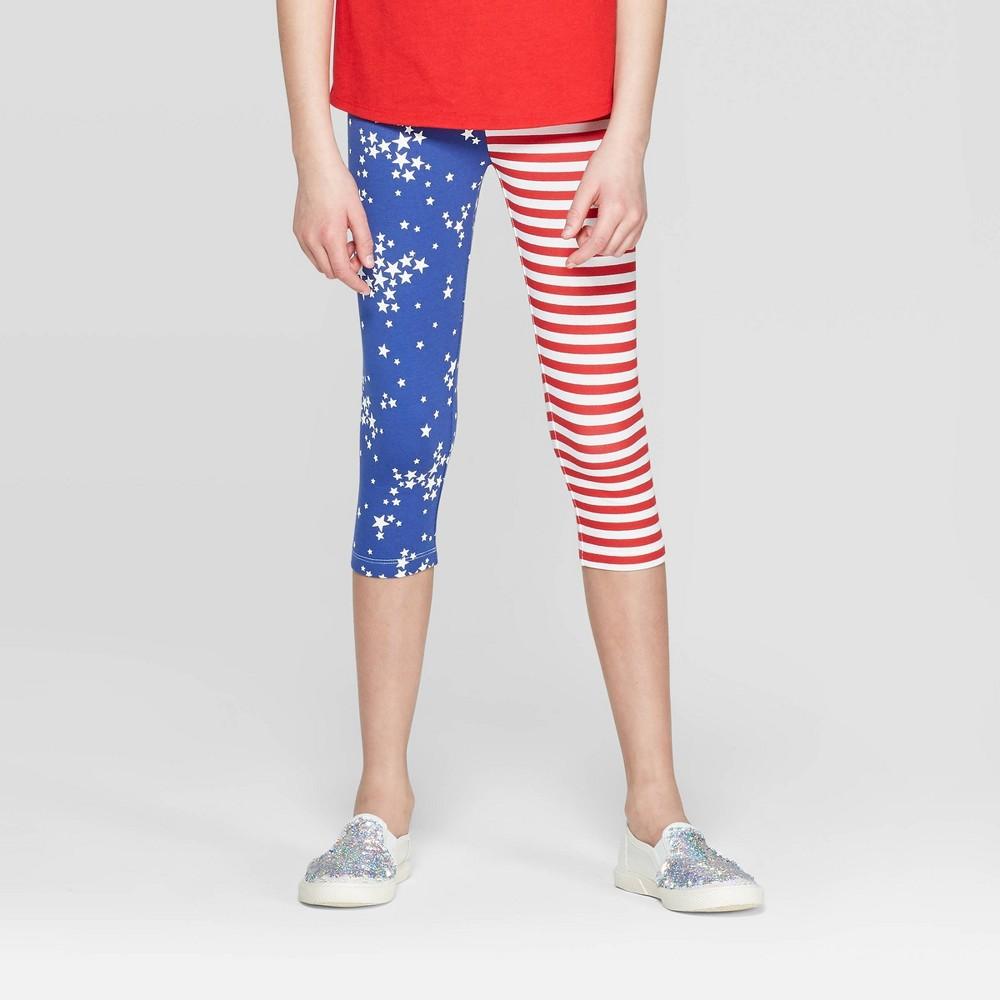 Girls' Americana Stripe Capri Leggings - Cat & Jack Red M