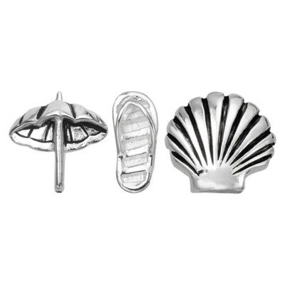 """Treasure Lockets 3 Silver Plated Charm Set with """"Off to the Beach"""" Theme - Silver"""