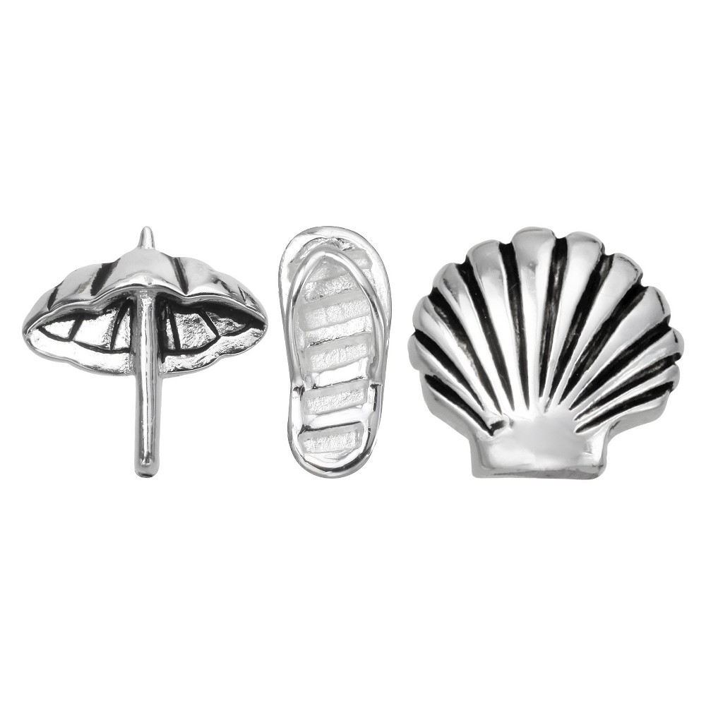"Image of ""Treasure Lockets 3 Silver Plated Charm Set with """"Off to the Beach"""" Theme - Silver, Women's"""
