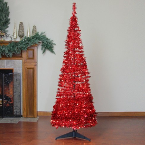 Northlight 6 Prelit Artificial Christmas Tree Red Tinsel Pop Up