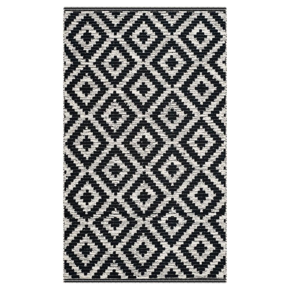 Black Ivory Geometric Woven Accent Rug 3 X5 Safavieh