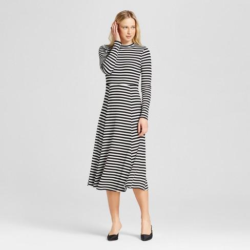 Womens Long Sleeve Rib Midi Dress Who What Wear Blackwhite