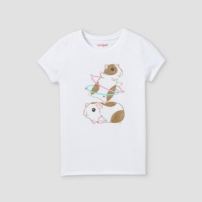 Girls' 'Hula Hoop Hamsters' Short Sleeve Graphic T-Shirt - Cat & Jack™ White