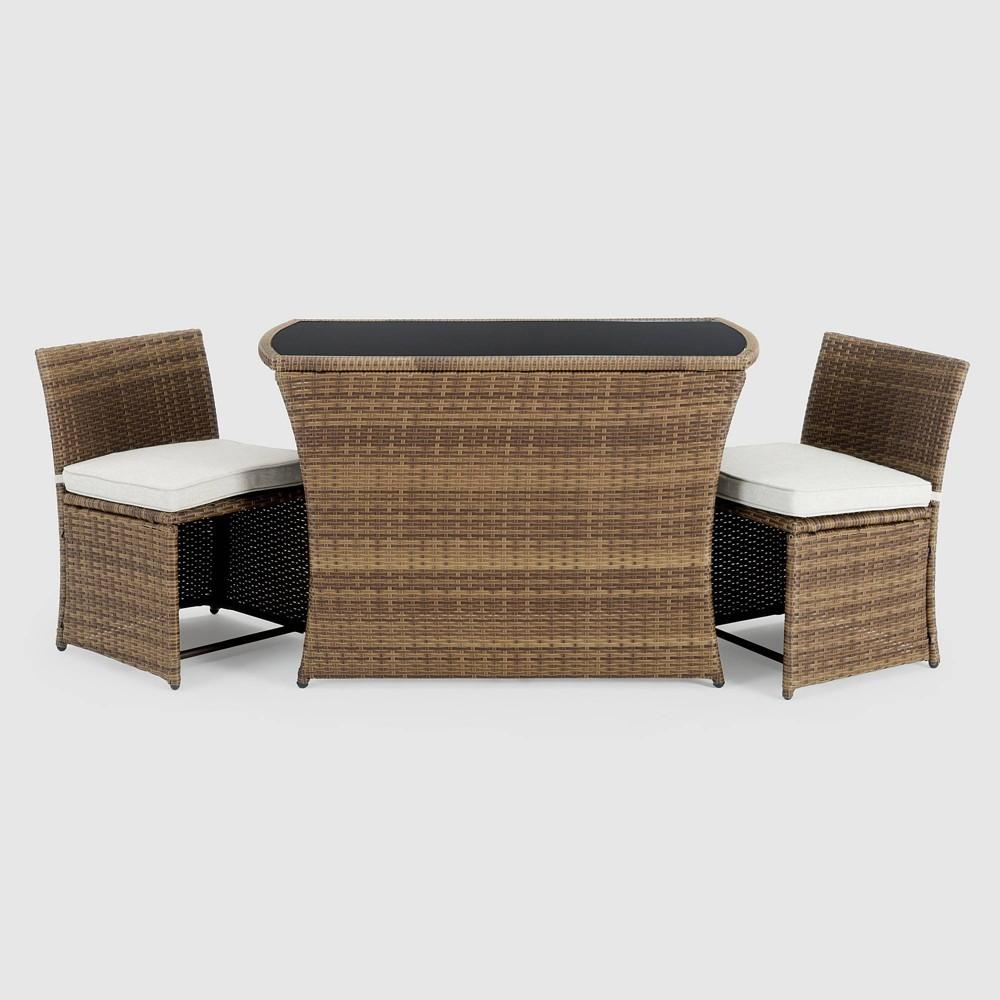 Image of Exum 3pc Patio Café Set - Brown - Sego Lily