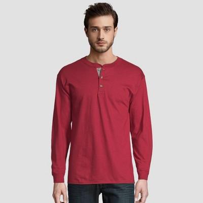 Hanes Men's Long Sleeve Beefy Henley Shirt