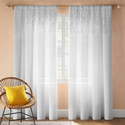 Macrame Attached Valence Sheer Curtain Panel White - Opalhouse™