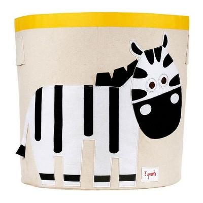 Extra Large Round Zebra Canvas Kids Toy Storage Bin - 3 Sprouts